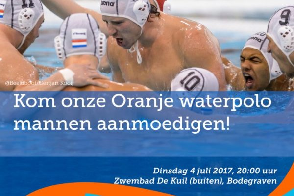 Oranje waterpolomannen spelen interland in De Kuil